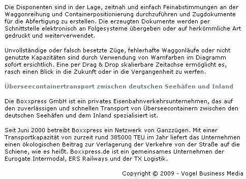 MM Logistik, 20.11.2009